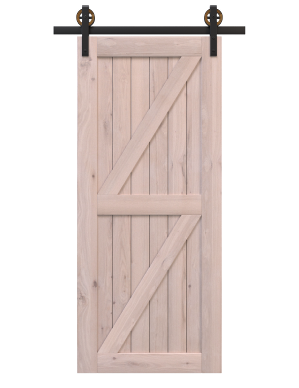 stowe unfinished wood double diagonal pattern barn door