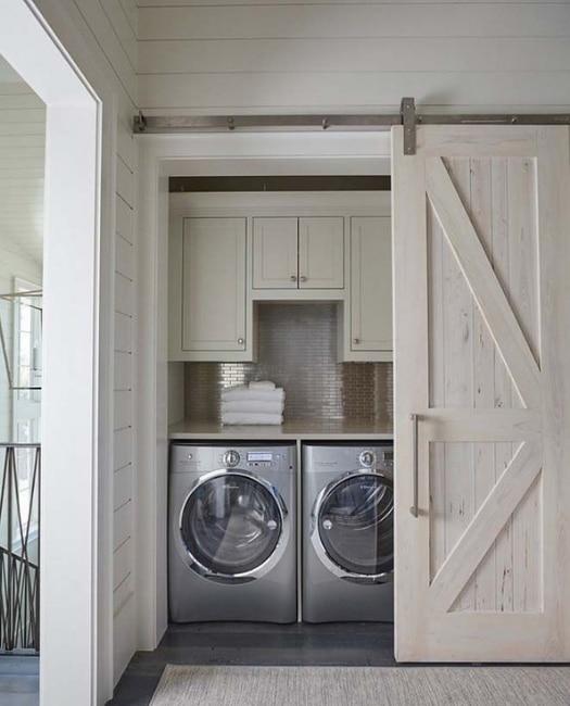 white wash sonoma sliding laundry barn door