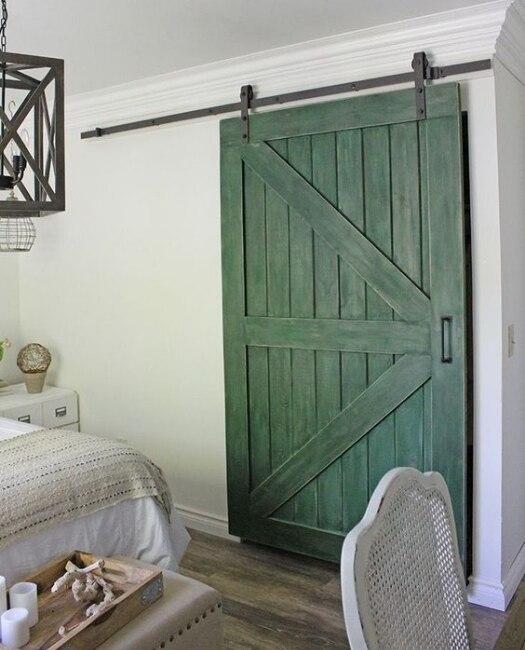green bedroom closet wood sonoma sliding barn door