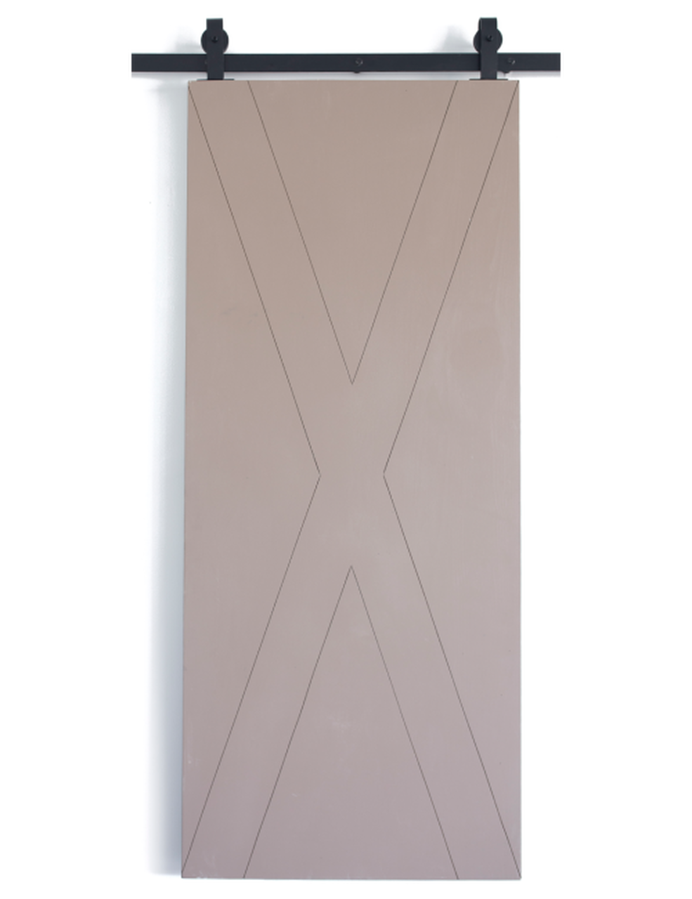 wood barn door with modern etched x pattern