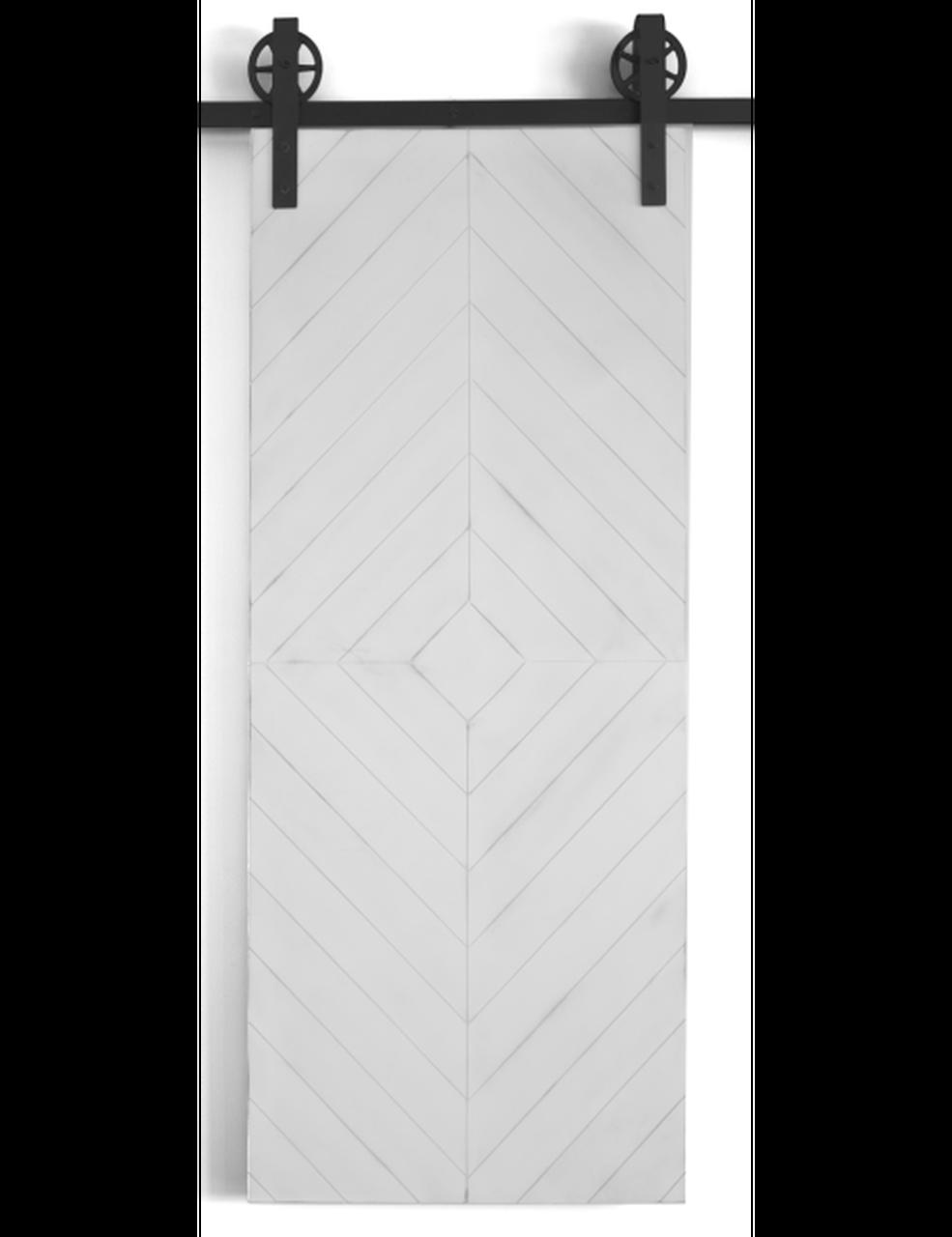white painted wood diamond barn door