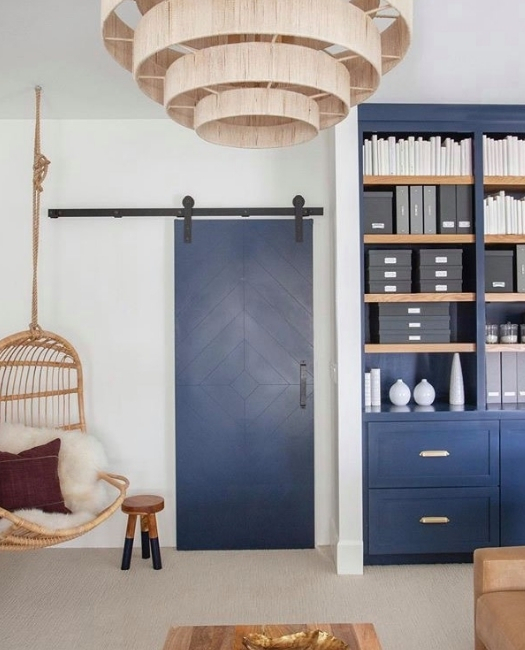 Modern Diamond Door In Dark Navy Blue Boho Styling