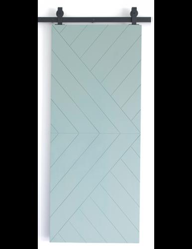 teal painted wood single barn door