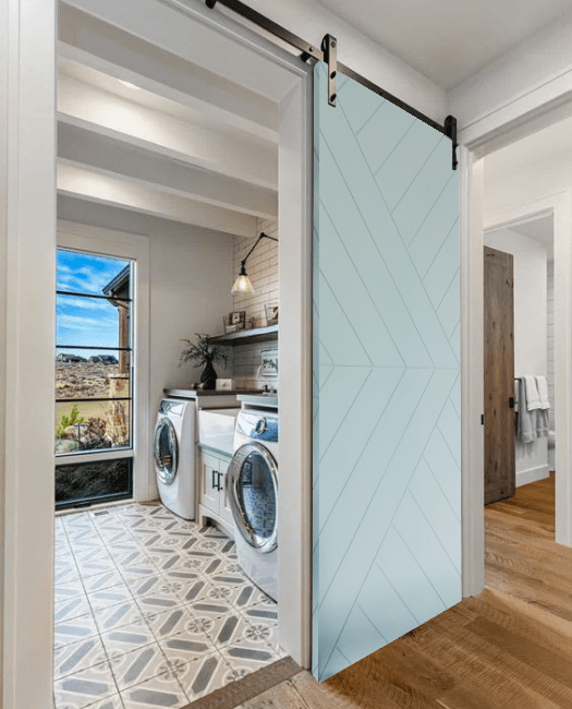 Arrow Modern Sliding Barn Door - Watercolor - Laundry Room
