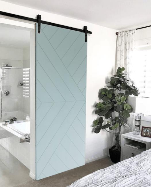 Arrow Modern Sliding Barn Door - Watercolor - Bathroom