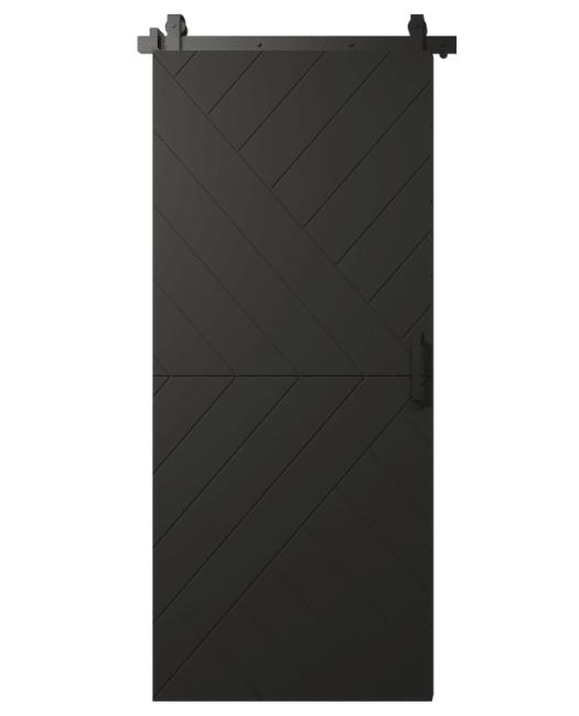 black painted wood single barn door