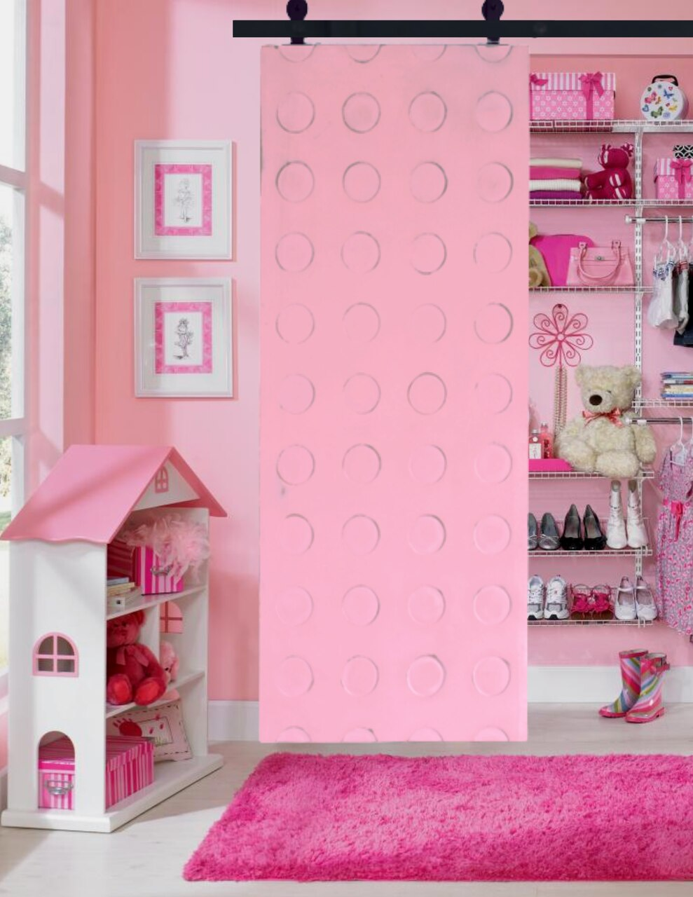 Santa Monica Sliding Barn Door in a daughters room filled with major princess vibes