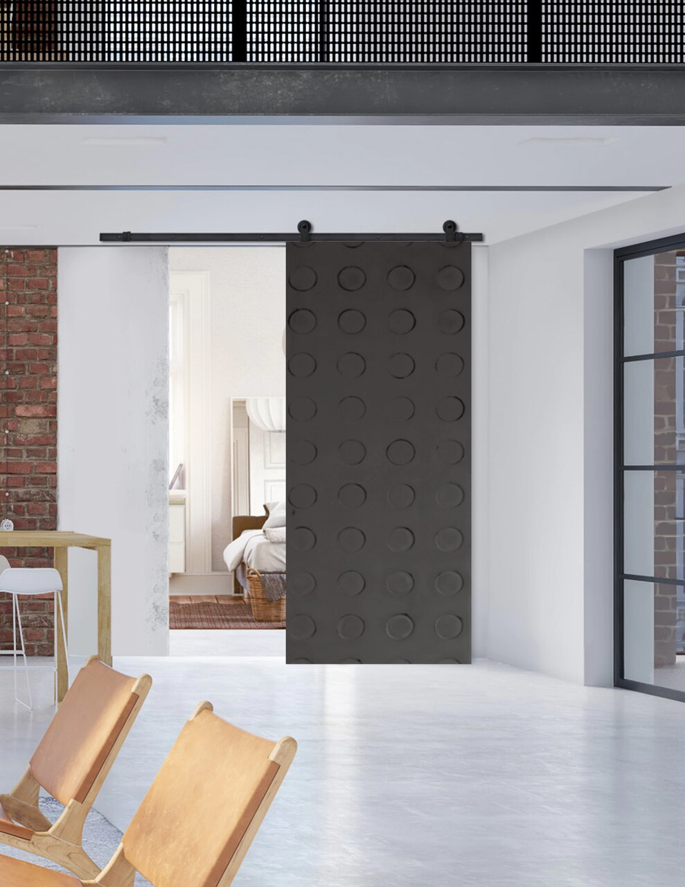 dark grey Santa Monica Sliding Barn Door in modern loft setting