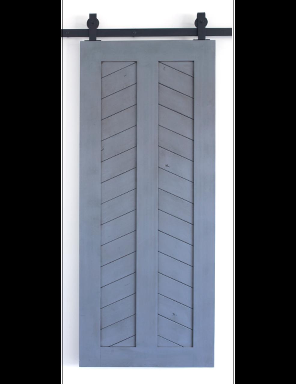 painted wood chevron panel barn door