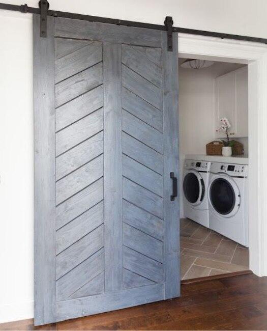 laundry chevon sliding barn door