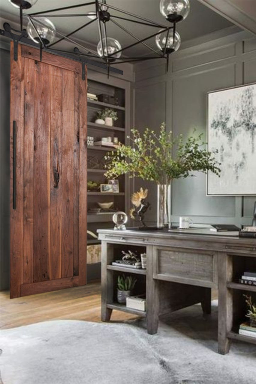 vertical plank walnut sliding barn door office lifestyle