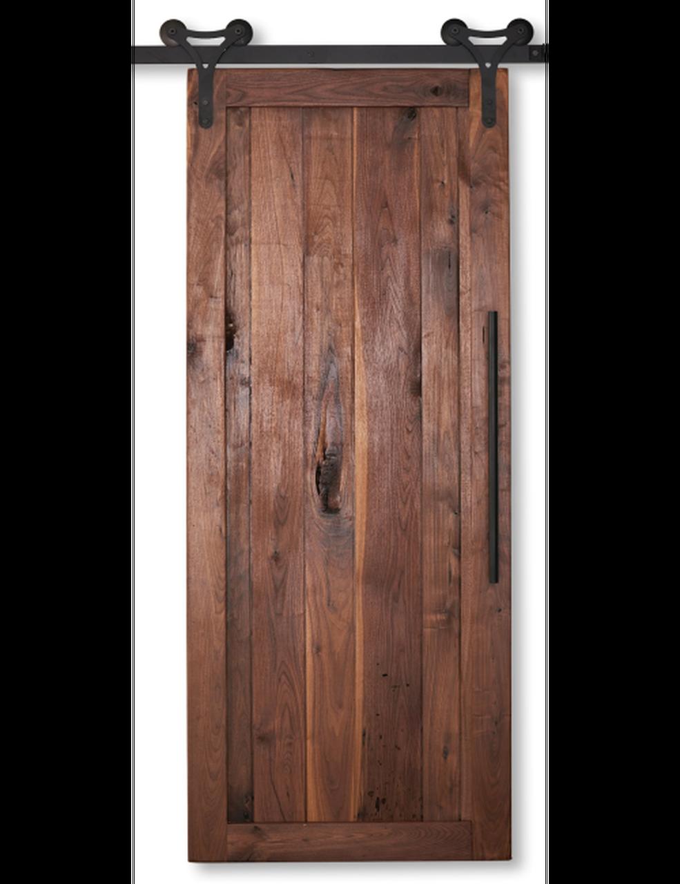 walnut wood vertical plank barn door