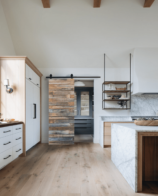 Reclaimed Wood Sliding Barn Door Lifestyle Kitchen