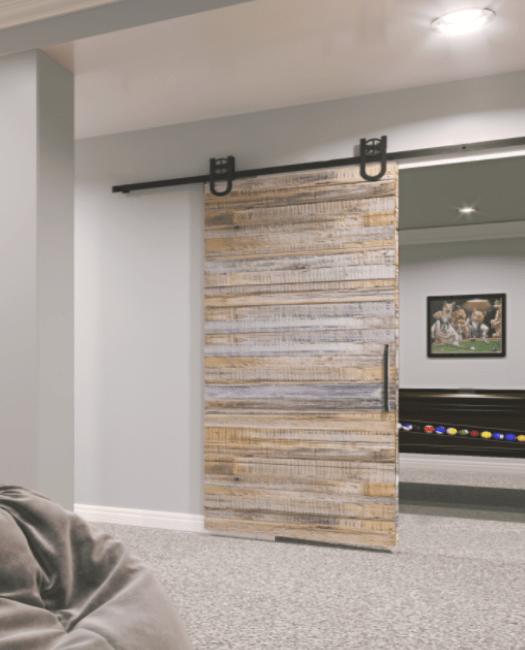 reclaimed wood barn door basement grey