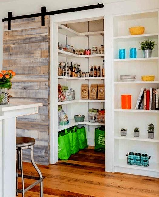 Reclaimed Wood Sliding Barn Door Lifestyle Kitchen Pantry