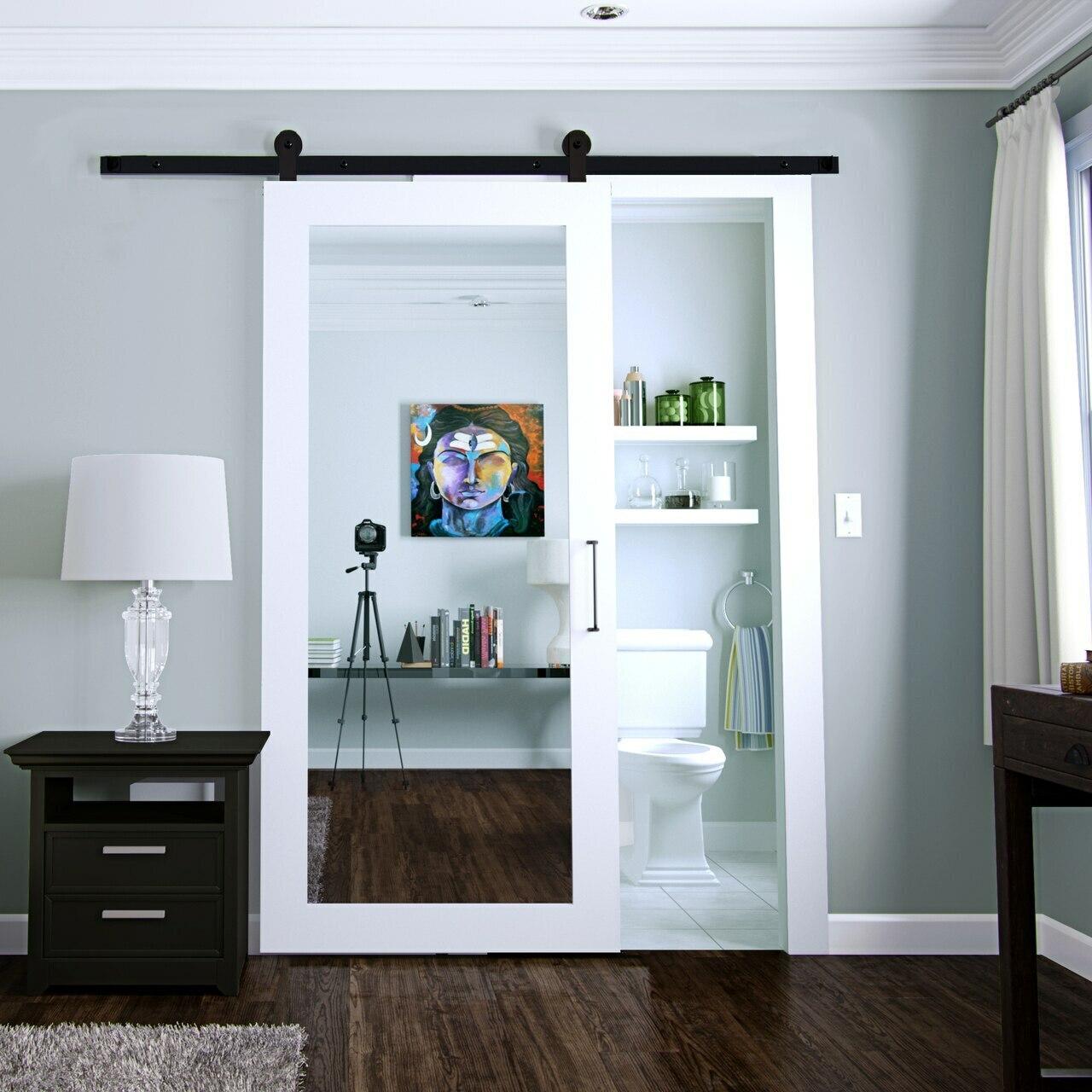white painted wood bathroom barn door with full pane mirror