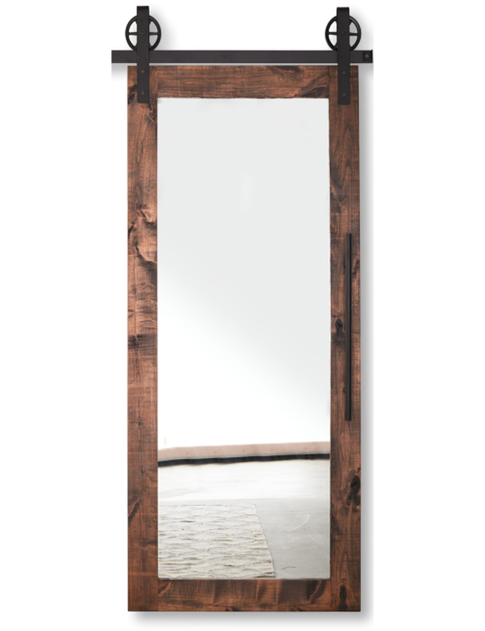 stained wood barn door with full pane glass