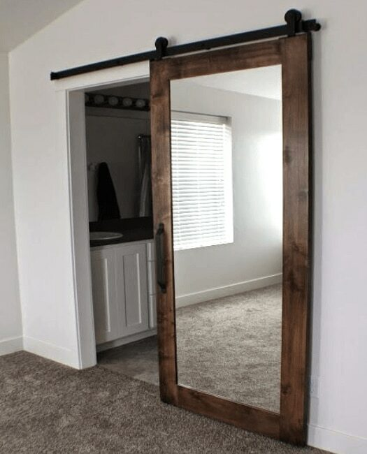 Dark Stained Mirror Sliding Barn Door - Lifestyle bedroom bathroom
