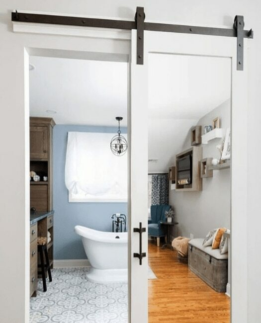 White Mirror Sliding Barn Door - Lifestyle Bathroom
