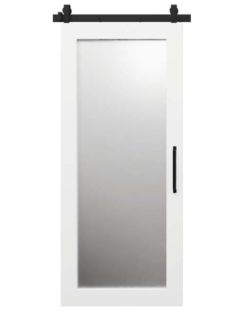 white sliding barn door with mirror