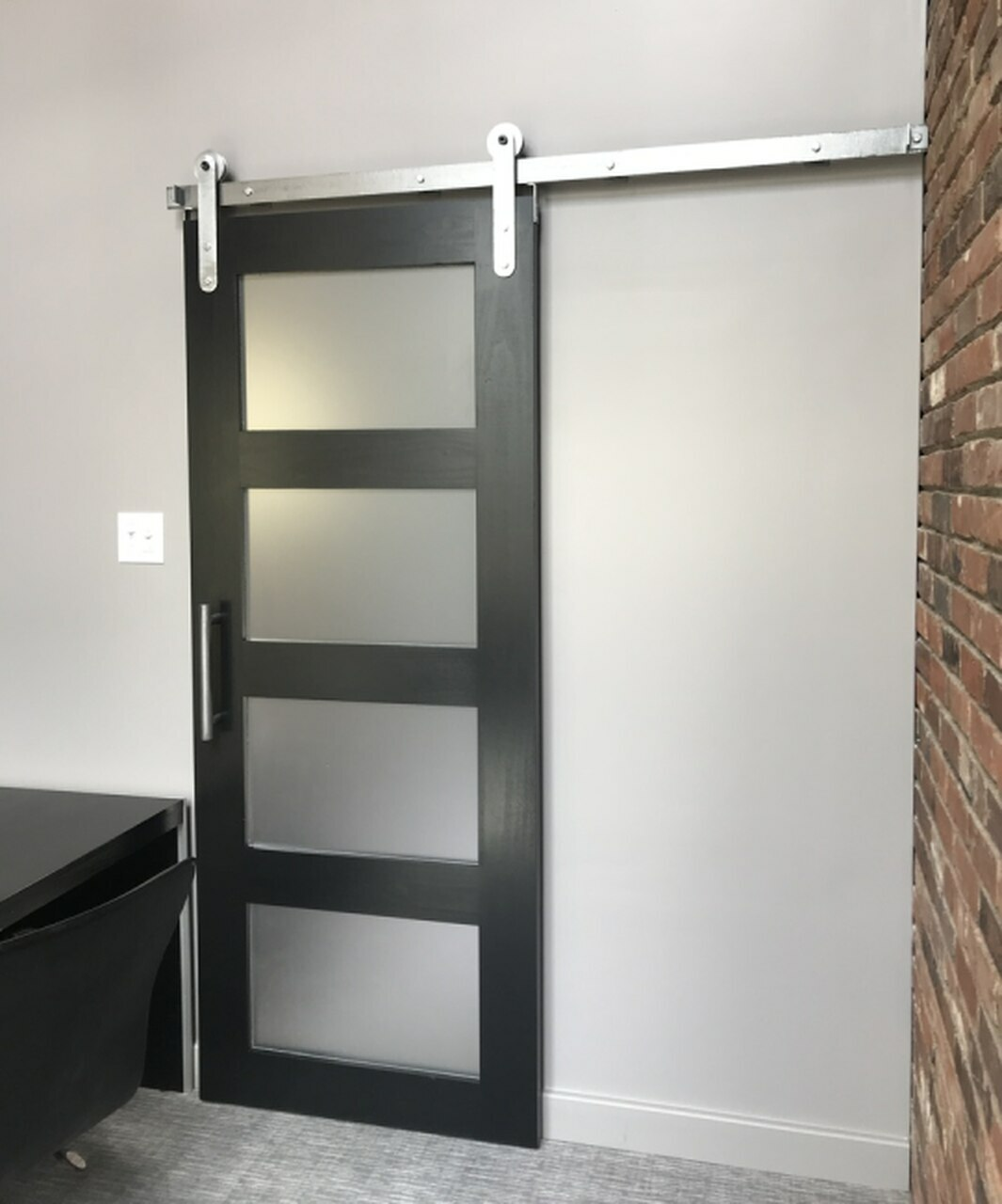wood and frosted glass 4 panel barn door