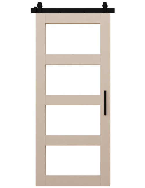 light brown four panel glass barn door
