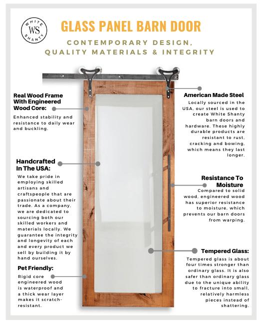 Glass Panel Sliding Barn Door Material Chart