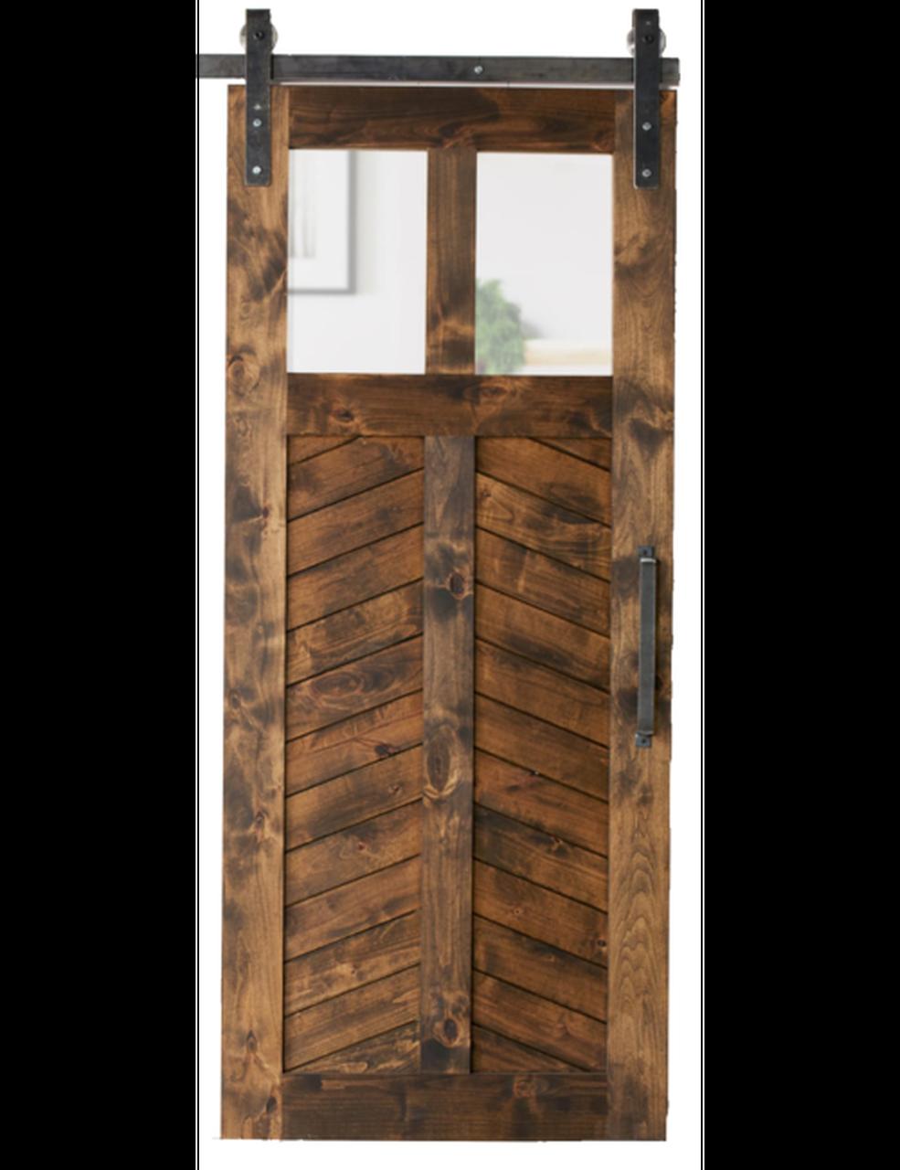 light chevron wood dual glass pane stained chevron panel barn door