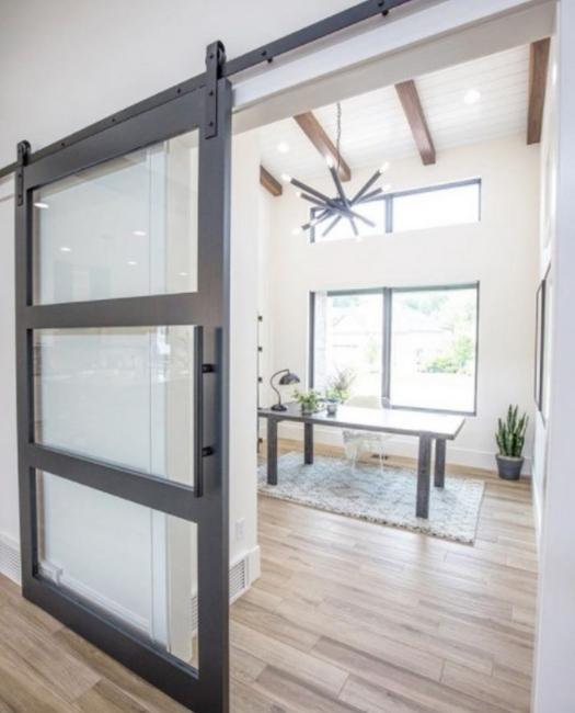 clear glass three panel wood frame livingroom sliding barn door