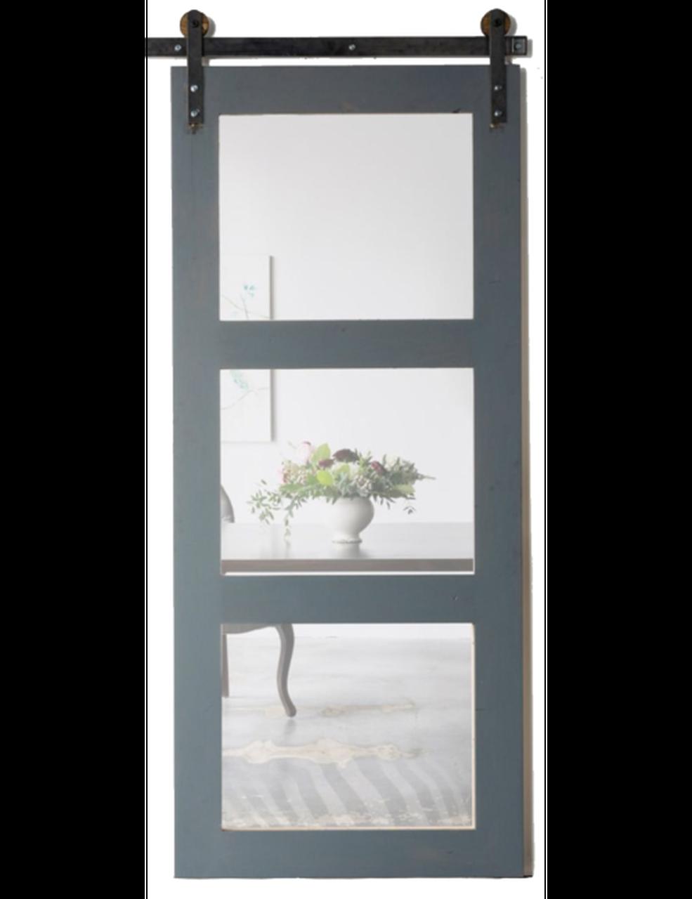 wood three panel glass barn door