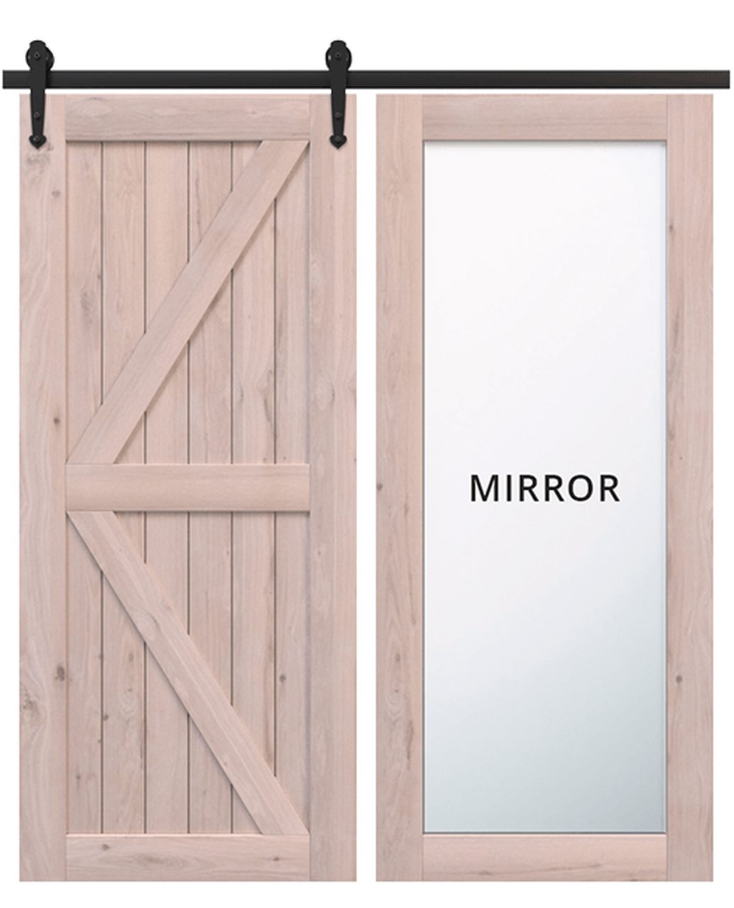 sonoma unfinished wood diagonal pattern barn door with mirror panel
