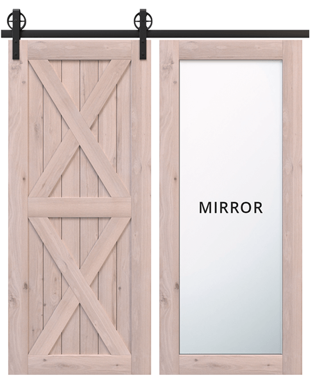 nantucket unfinished wood barn door with full pane mirror and double x panel