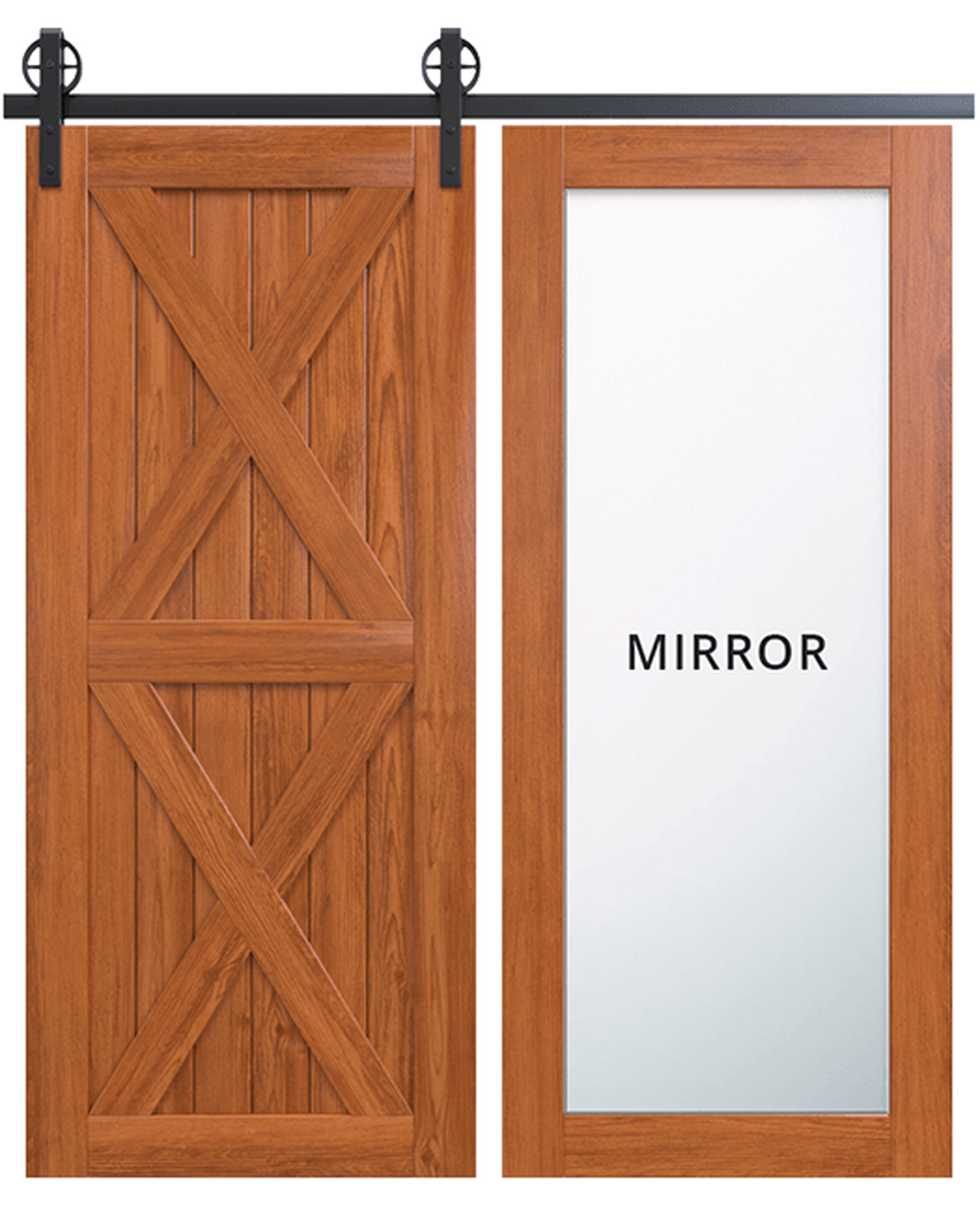 nantucket stained wood barn door with full pane mirror and double x panel