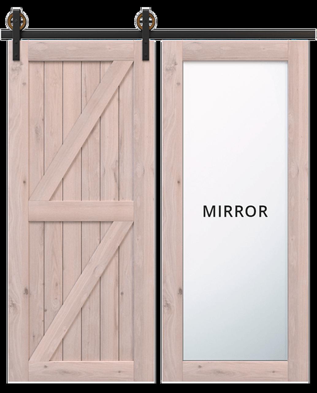 stowe wood full mirror panel unfinished wood double z panel barn door