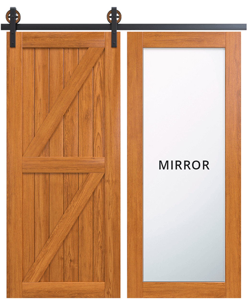 stowe wood full mirror panel stained double z panel barn door