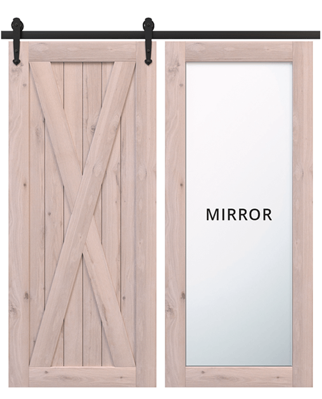 savannah unfinished wood barn door with full mirror panel and classic full x panel