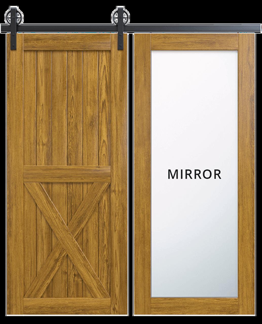 lake placid wood full pane mirror stained half x panel barn door