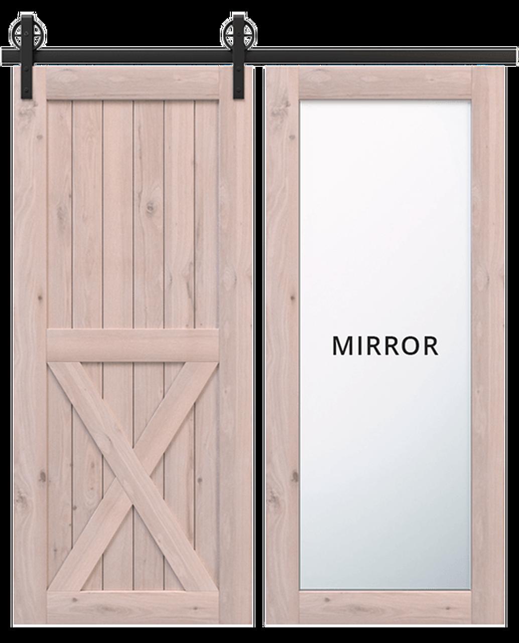 lake placid wood full pane mirror unfinished wood half x panel barn door