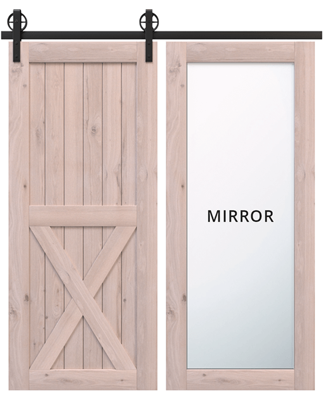 lake placid wood full pane mirror unfinished wood half x panel barn door