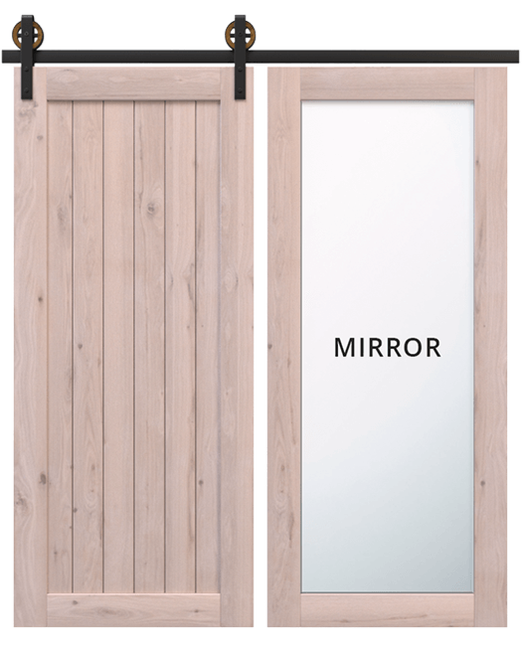 hudson unfinished wood barn door with full panel mirror