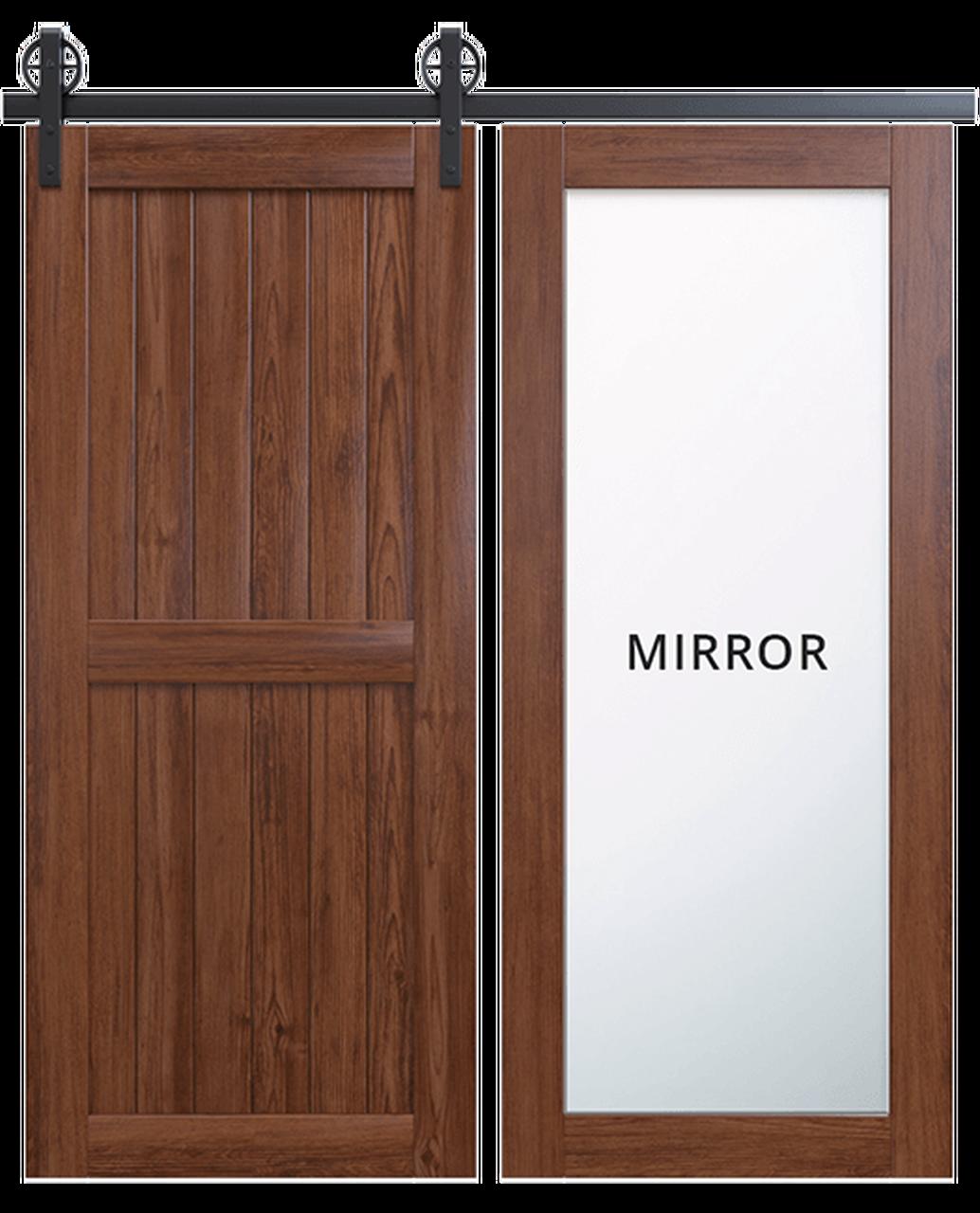 naples dark stained wood 2 panel barn door with full pane mirror