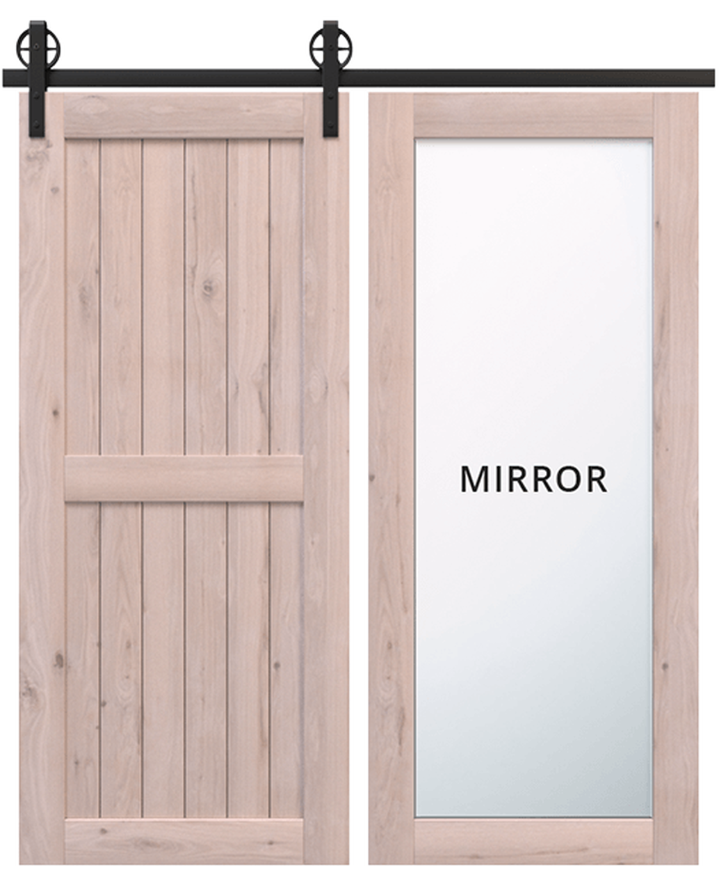 naples stained wood 2 panel barn door with full pane mirror