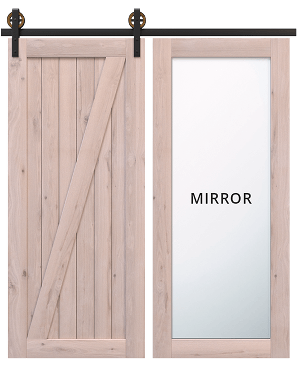 juneau wood full pane mirror unfinished wood classic z barn door