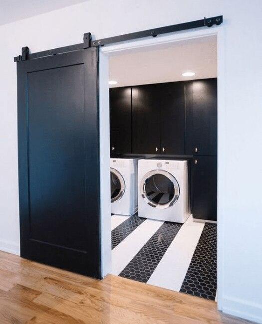 Full Panel Sliding Barn Door Lifestyle Laundry Room