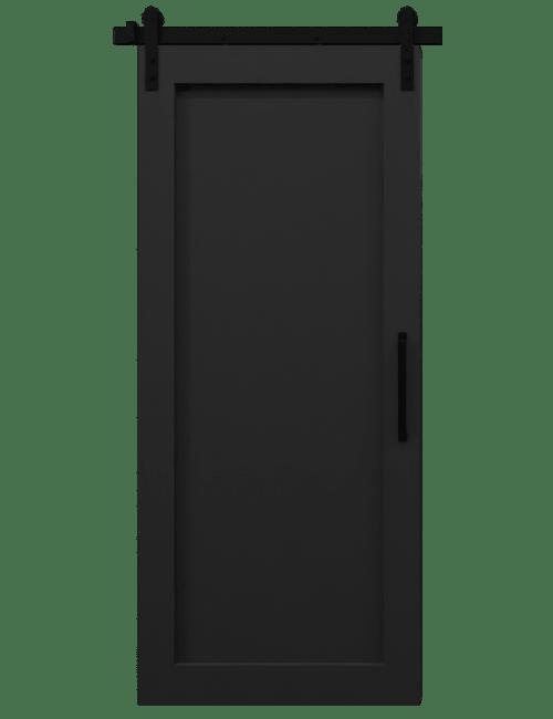 black wood full panel barn door