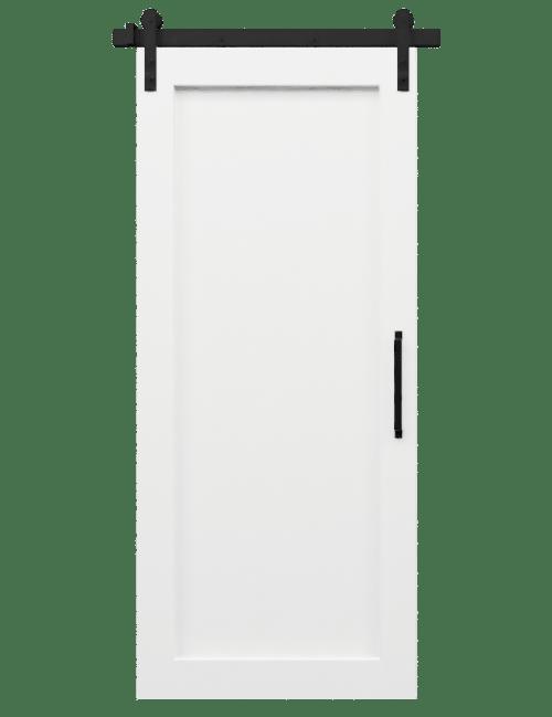 white paint wood full panel barn door