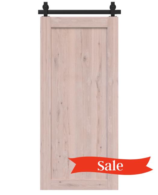 unfinished wood full pane barn door