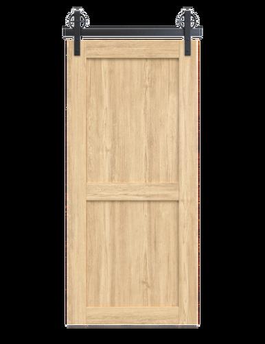 light stain wood 2 panel barn door