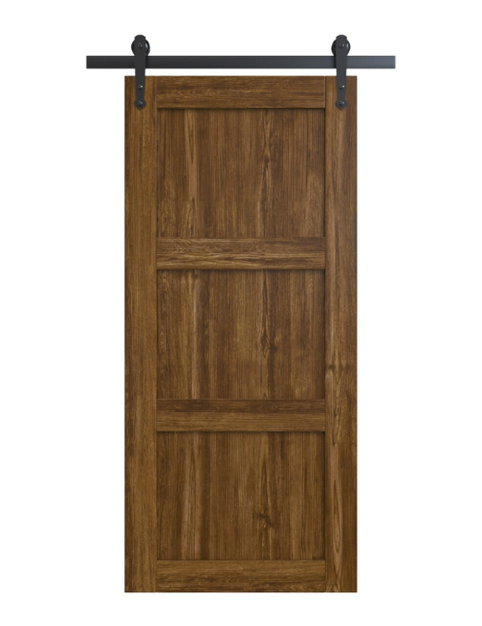 wood medium stain 3 panel shaker barn door