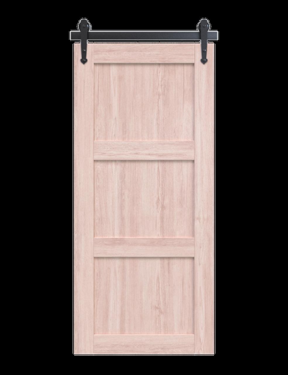 wood white washed 3 panel shaker barn door (Minwax Simply White)